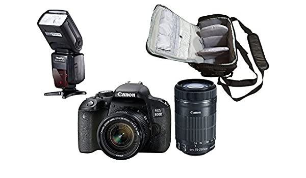 800D DSLR Cámara + EF-S 18-55mm + EF-S 55-250mm Lente + KamKorda ...