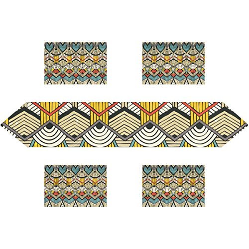 super3Dprinted African Art Tribal Print Rectangle Table Runner 13 x 90 inch with Placemat Table Mat 12 x 18 inch Set of 6, for Wedding, Party, Dinner, Summer & Picnic Country Outdoor Home Decor,