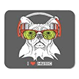 """Nakamela Mouse Pads Cap Animal Dog in Glasses and Headphones Beast Chief Mouse mats 9.5"""" x 7.9"""" Mouse pad"""