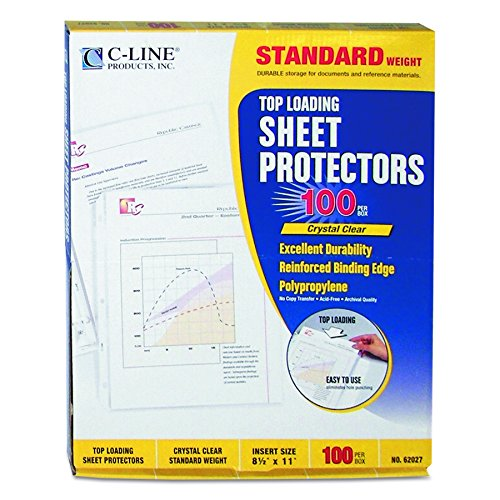 C-Line Top Loading Standard Weight Poly Sheet Protectors, Clear, 8.5 x 11 Inches, 100 per Box (Clear Standard Sheet Protectors)