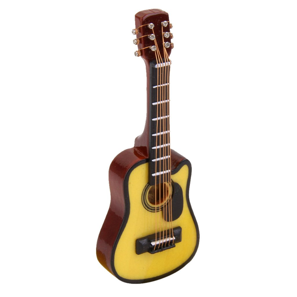 1/12 Dollhouse Miniature Musical Instrument Toy Wooden Acoustic Guitar Generic JPA15015791