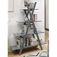 Convenience Concepts Oxford A Frame Bookshelf, Gray