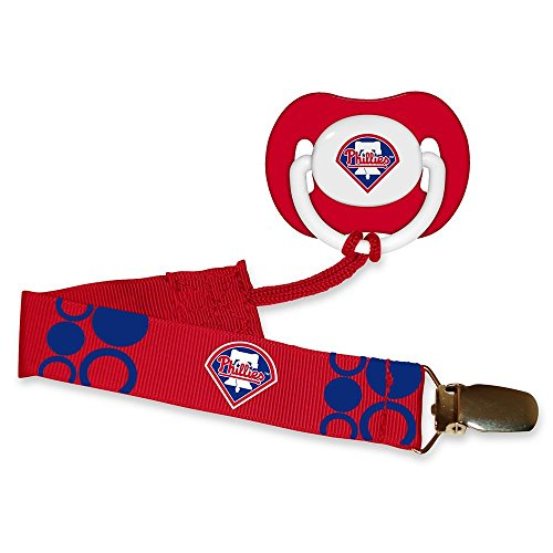 (Philadelphia Phillies Red Pacifier and Pacifier Clip - MLB Baby Fanatic Combo Set)