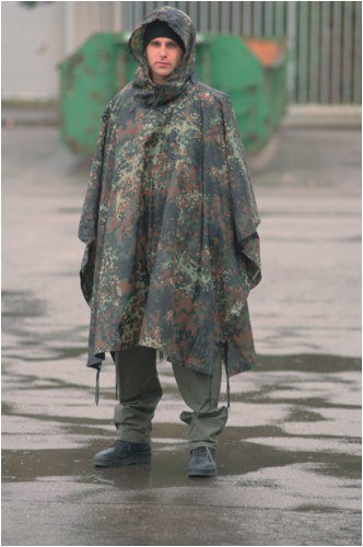 Waterproof Hooded Ripstop Wet Festival Rain Poncho Flecktarn Camo