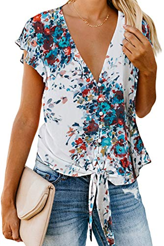 Asvivid Womens Casual Floral Printed Button Down V-Neck Chiffon T-Shirt Ruffles Cap Sleeve Self Tie Flowy Tops M Multi
