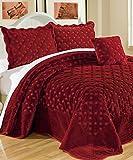 Serenta Faux Fur Quilted Tatami 4 Pcs Bedspread Set, King Burgundy