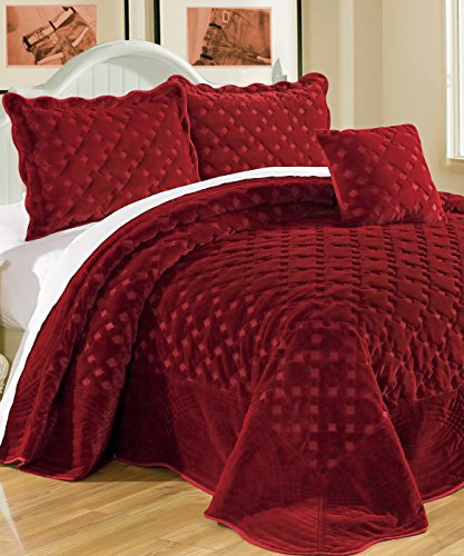 Serenta Faux Fur Quilted Tatami 4 Pcs Bedspread Set, King Burgundy by Home Soft Things