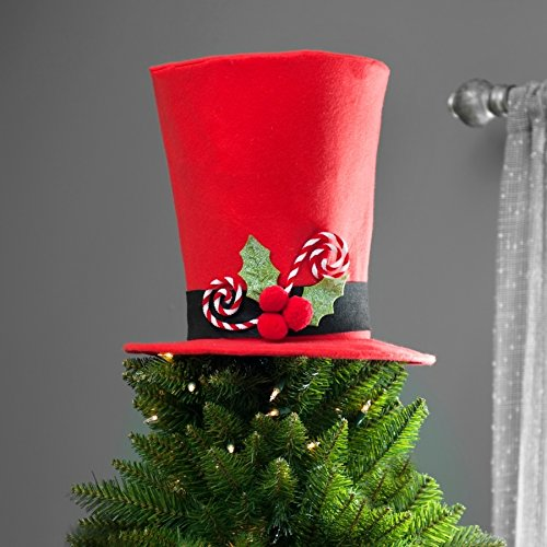 Unique Christmas Tree Topper Lighted Top Hat Snowman Reindeer Elf Head Top Hat New (Peppermint Candy cane Red Top Hat)