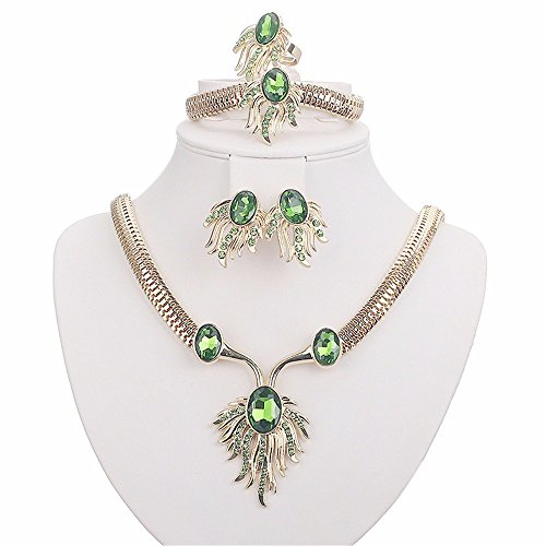 Moochi 18K Gold Plated Oval Zircon Phoenix Pattern Necklace Jewelry Set Green - Costume Jewelry Art