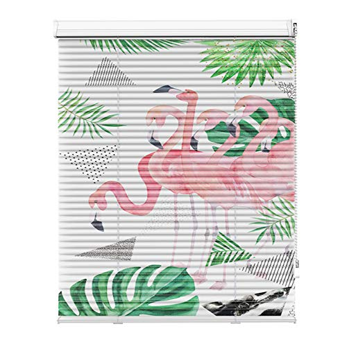 AQAWAS Cordless Blinds for Windows, Cordless Blinds Shade, Room Darkening Easy Install, Pull Beads Style for Steel Metal Door Windows,Flamingo_28x48in/72.5×122.5CM