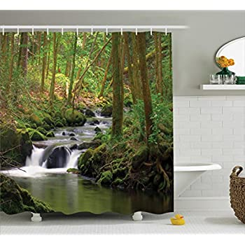 Ambesonne Nature Shower Curtain Green Decor Waterfall And Stream Flowing In The Forest Over Mossy