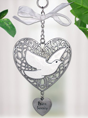 BANBERRY DESIGNS Peace Christmas Filigree Heart Ornament with White Dove and Engraved Heart Charm Pewter 4.25