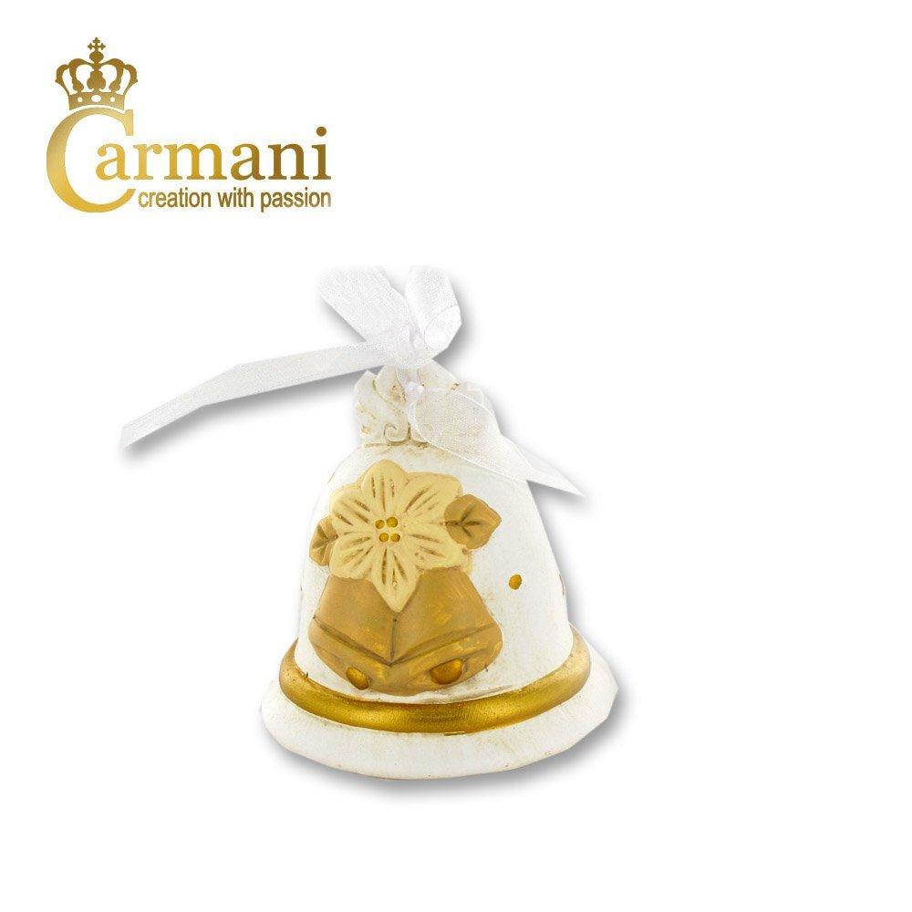 Carmani - Bianco ceramica campana di Natale, ornamento di Natale, addobbi per l'albero addobbi per l' albero