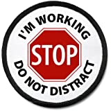 Working Dog Do Not Distract Medical Alert 2.5 inch Black Rim Hook Velcro Patch