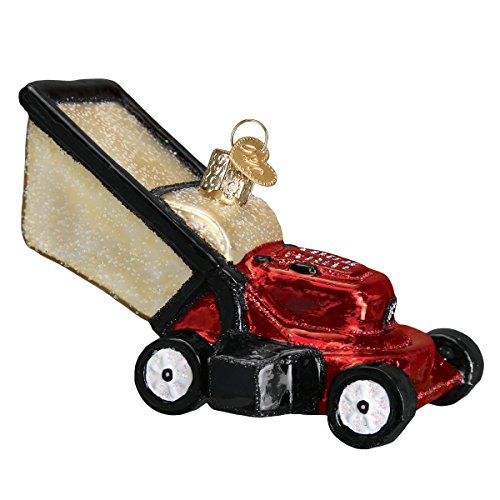 Old World Christmas Glass Blown Ornament with S-Hook and Gift Box, Outside Collection (Lawn Mower)