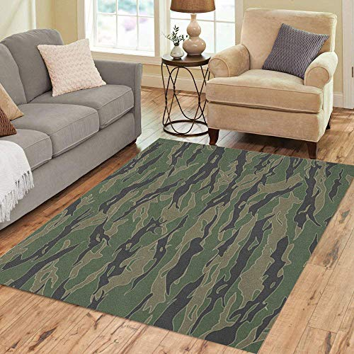 Semtomn Area Rug 2' X 3' Green Camo Classic Tiger Stripe Camouflage Patterns Khaki Airforce Home Decor Collection Floor Rugs Carpet for Living Room Bedroom Dining Room