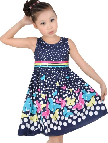 Girls Dress Navy Blue Butterfly Party School Child Size 9-10 for $<!--$7.99-->