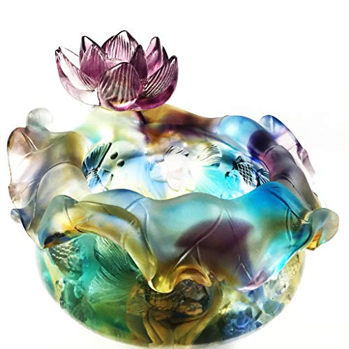 Amore Jewell Goldfish and Lotus Treasure Bowl/Tank, Colored Glaze Glass (Liuli Crystal Glass)