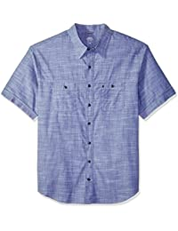 Men's Big and Tall Saltwater Chambray Solid Short Sleeve Shirt