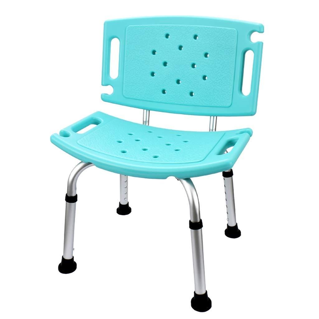 浴室滑り止めチェアシャワースツールアルミ合金背もたれ超薄型厚みの滑り止め防水排水家高齢者妊娠中の女性子供2色オプション (色 : 青) B07RZ7BNXM 青