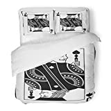 SanChic Duvet Cover Set Play Jack Spades Black Casino Gamble Game Poker Decorative Bedding Set 2 Pillow Shams King Size
