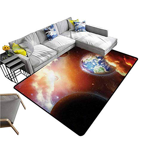 "Floor Mat Entrance Doormat Space,Dust Cloud Nebula Stars in Solar System Scene with Planet Earth Pluto and Neptune,Orange Blue 36""x 60"",Carpet mat"