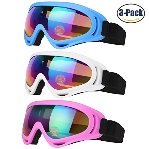 Ski Goggles, Snowboard Goggles for Kids, Boys & Girls, Men & Women, Youth, with UV 400 Protection, Wind Resistance, Anti-Glare Lenses & Multi Color Frames, made by - To Clean Goggles How