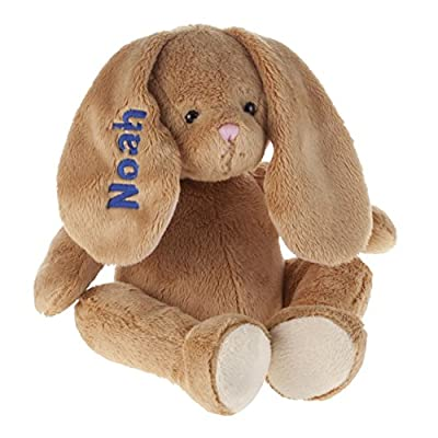 Miles Kimball Personalized Brown Plush Bunny -Customized Stuffed Animal Children Easter Gift – Embroidered Floppy Ear Bunny with Child Name in Blue Font: Toys & Games