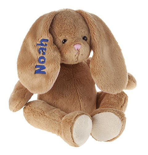 Miles Kimball Personalized Brown Plush Bunny -Customized Stuffed Animal Children Easter Gift - Embroidered Floppy Ear Bunny with Child Name in Blue Font ()