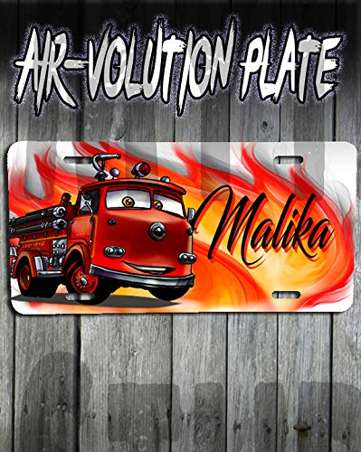 Personalized Airbrush Red Firetruck Cars License Plate Tag