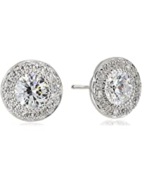 Platinum-Plated Sterling Silver Round-Cut Swarovski Zirconia Halo Stud Earrings, also Available in Sets