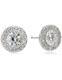 Platinum Plated Sterling Silver Halo Stud Earrings set with Round Cut Swarovski Zirconia (.48 cttw)
