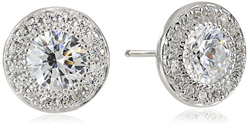 Platinum-Plated Sterling Silver Round-Cut Swarovski Zirconia Halo Stud Earrings
