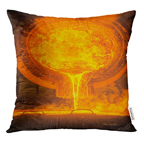 Semtomn Throw Pillow Cove Orange Metal Hot Steel Pouring at Plant Red Molten Decor Square 20x20 Inches (Best Casting Couch Videos)
