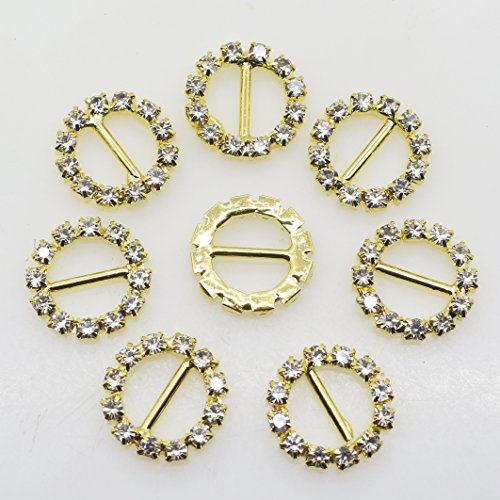 50pcs 16mm Gold Round Shape Rhinestone Ribbon Buckles Diamond Buttons for the Bridesmaids Bouquets Doll shoes and dresses