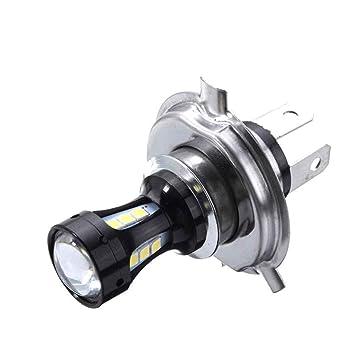 6.74x4.73CM H4 18W LED de la motocicleta 3030 CRUCE Moto Luces de bulbos de lámparas DC 12-24V 6500K: Amazon.es: Coche y moto