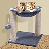 JAXPETY 12x12x13 Cat Tree House w Scartching Post Tower - Hammock Bed and Pet Toy Ball - Multi 2 Level - Gray