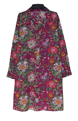 Ayurastram Madhuri Pure Cotton, Block Print Tunic, Top, Kurti:Floral Magenta: M