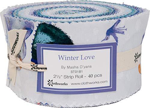 Masha D'yans Winter Love Strip Roll 40 2.5-inch Strips Jelly Roll Clothworks