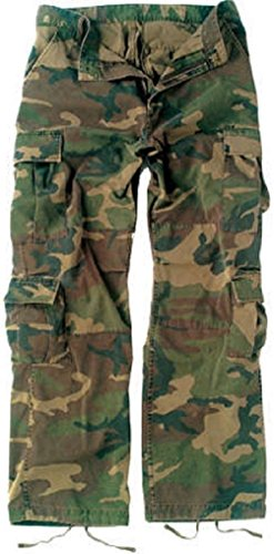Bellawjace Clothing Vintage Woodland Camouflage Paratrooper Pants Tactical Military BDU Fatigue