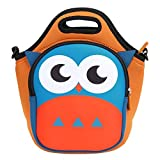 Kids Lunch Bag, Evecase Waterproof Neoprene Insulated Carrying Lunch Tote Bag/Backpack for Kids - Cute Owl Theme