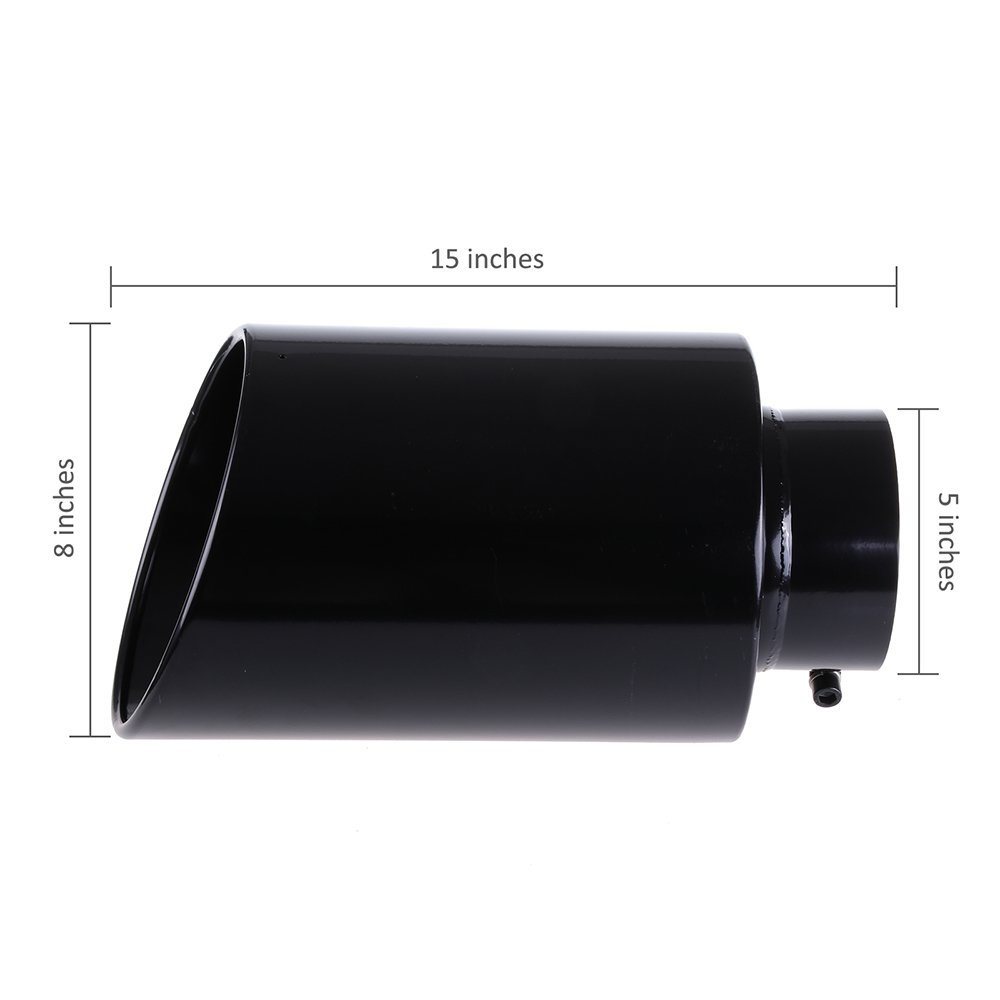 ECCPP Diesel Exhaust Tip 5 Inlet 8 Outlet Exhaust Tips 15 Long Mirror Black Powder Coated Black Stainless Steel Exhaust Tailpipe