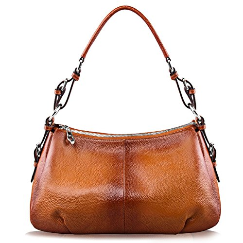 S-ZONE Womens Hobo Genuine Leather Shoulder Bag Top-handle Handbag Ladies - Hobo Handbag Leather Medium