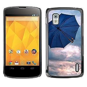 Caucho caso de Shell duro de la cubierta de accesorios de protección BY RAYDREAMMM - LG Google Nexus 4 E960 - Umbrella Blue Rain Depression Spring Clouds