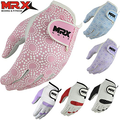 (MRX BOXING & FITNESS Women's Golf Glove Soft Cabretta Leather Regular Fit Women Golfer Gloves Left Hand (Pink-Medium))