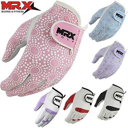 (MRX BOXING & FITNESS Women's Golf Glove Soft Cabretta Leather Regular Fit Women Golfer Gloves Left Hand)