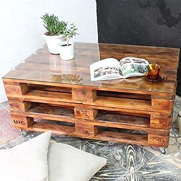 Mesa Palet 120X80 3 Alturas Barniz (Incluye Ruedas y Cristal): Amazon.es: Hogar