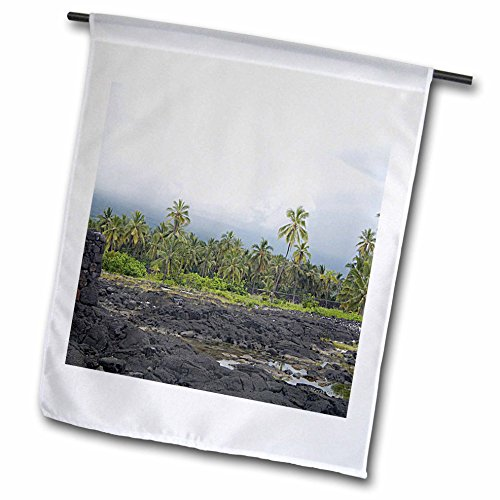 Sandy Mertens Hawaii Travel Designs - Puuhonua o Honaunau Fishpond, Palm Trees and The Great Wall in Back - 12 x 18 inch Garden Flag (fl_232782_1)