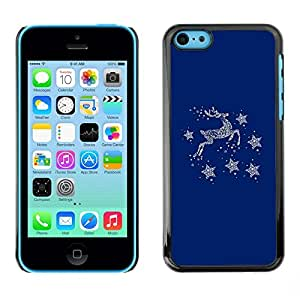 FECELL CITY // Duro Aluminio Pegatina PC Caso decorativo Funda Carcasa de Protección para Apple Iphone 5C // Blue Deer Winter Stars Minimalist