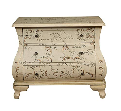 (Wood & Style Furniture Words of Encouragement Hand Painted Bombay Chest, Antique White Premium Office Home Durable Strong )